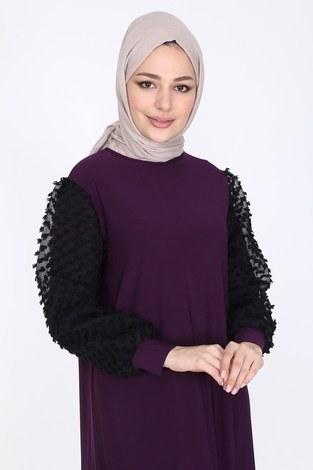 - Dantel Detaylı Elbise Ferace 4581-3 Mürdüm (1)