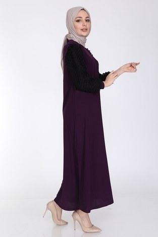 Dantel Detaylı Elbise Ferace 4581-3 Mürdüm - Thumbnail