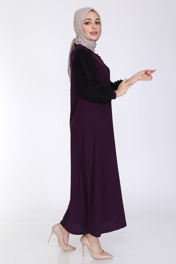 Dantel Detaylı Elbise Ferace 4581-3 Mürdüm