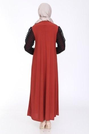Dantel Detaylı Elbise Ferace 4581-2 Kiremit - Thumbnail