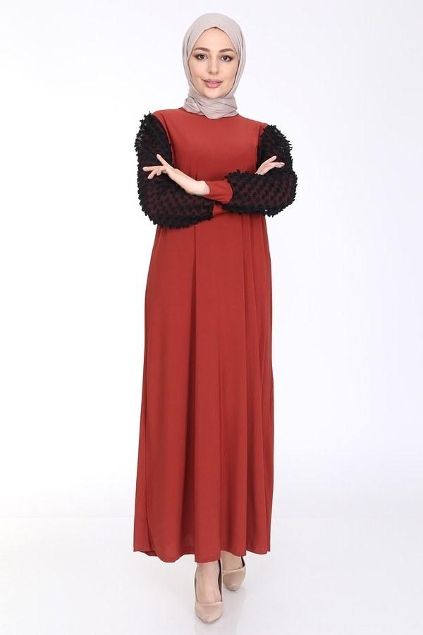 Dantel Detaylı Elbise Ferace 4581-2 Kiremit