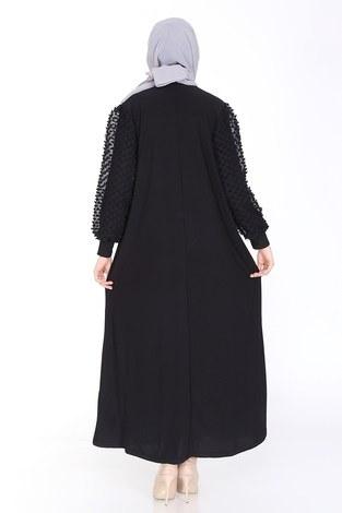 Dantel Detaylı Elbise Ferace 4581-1 Siyah - Thumbnail