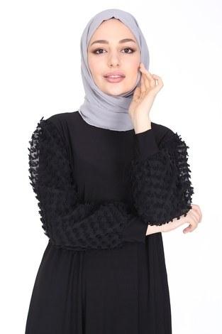 - Dantel Detaylı Elbise Ferace 4581-1 Siyah (1)