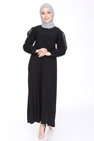 - Dantel Detaylı Elbise Ferace 4581-1 Siyah