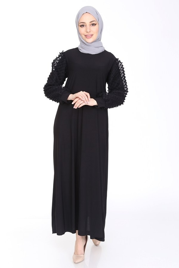 Dantel Detaylı Elbise Ferace 4581-1 Siyah