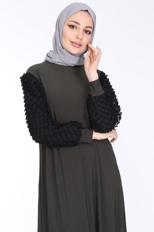 Dantel Detaylı Elbise Ferace 4581-4 Haki