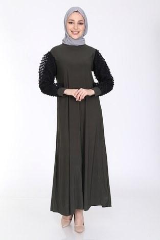 - Dantel Detaylı Elbise Ferace 4581-4 Haki