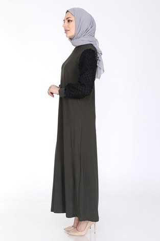 Dantel Detaylı Elbise Ferace 4581-4 Haki - Thumbnail