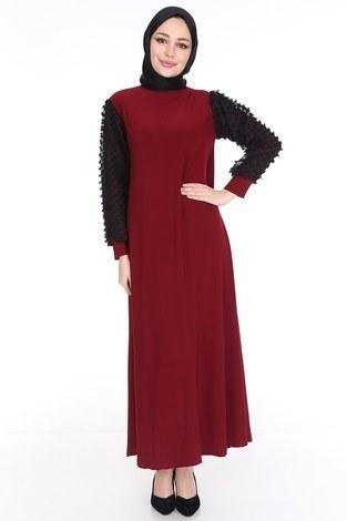 - Dantel Detaylı Elbise Ferace 4581-5 Bordo