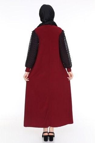 Dantel Detaylı Elbise Ferace 4581-5 Bordo - Thumbnail