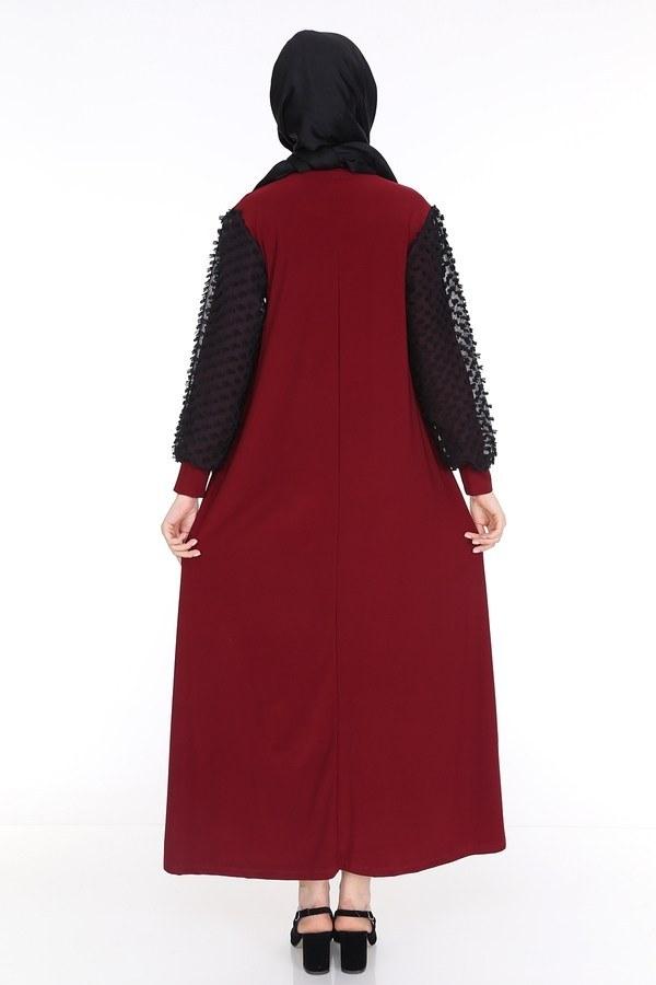 Dantel Detaylı Elbise Ferace 4581-5 Bordo