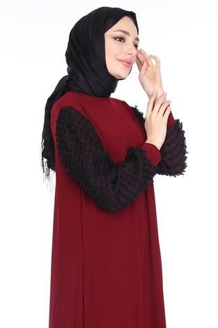 - Dantel Detaylı Elbise Ferace 4581-5 Bordo (1)