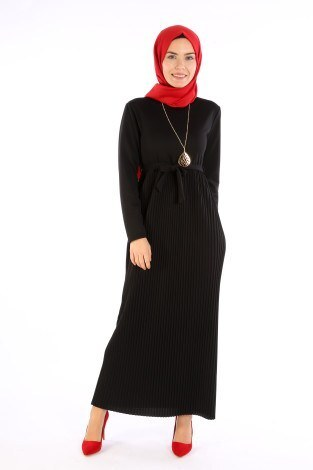 Beli Kuşaklı Kolyeli Pilise Elbise 1612-01 - Thumbnail