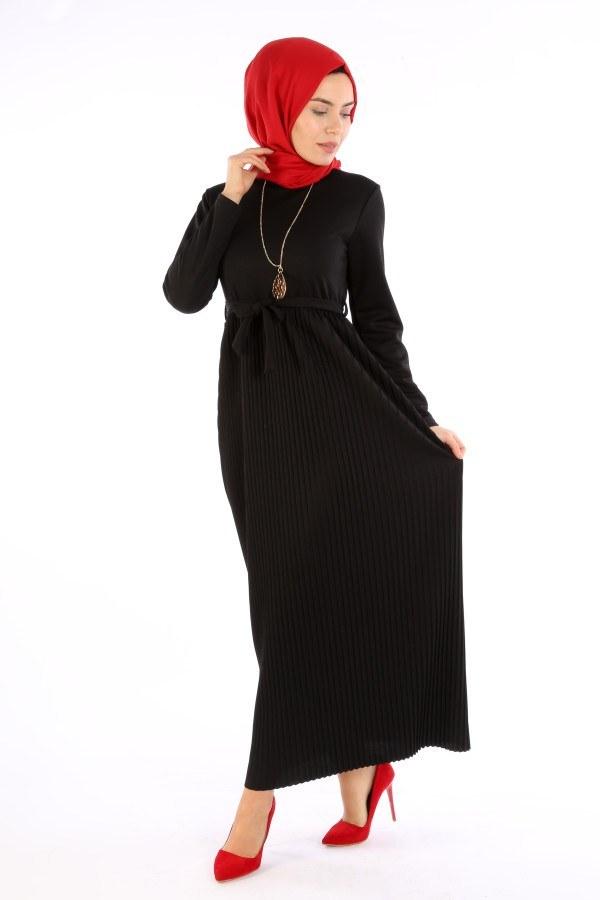 Beli Kuşaklı Kolyeli Pilise Elbise 1612-01