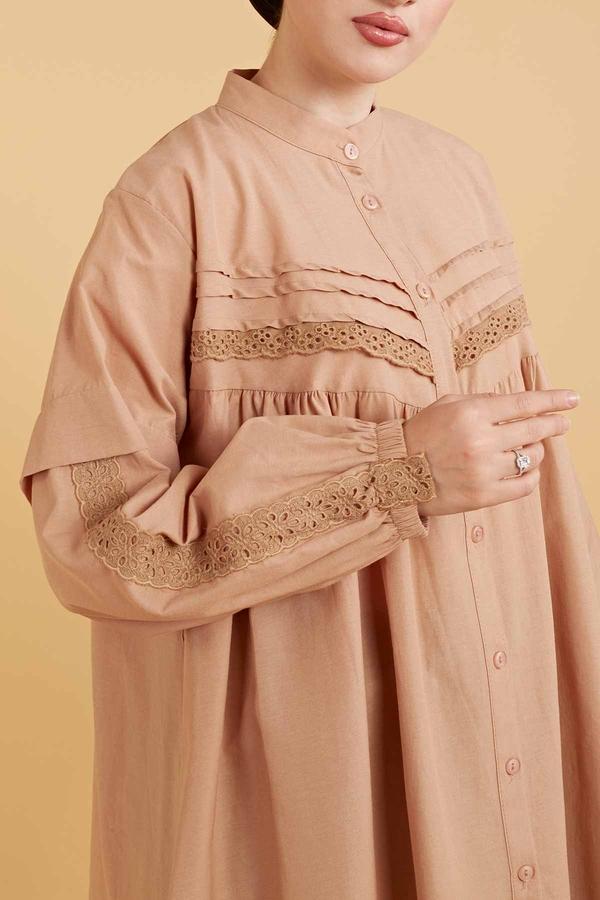 Dantel Detaylı Poplin Gömlek 160SAG6282 Camel