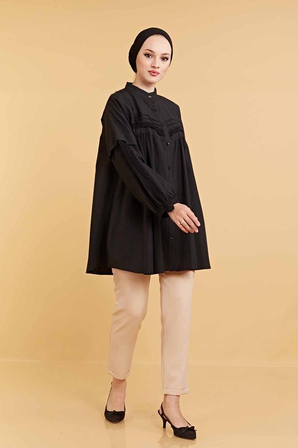 Dantel Detaylı Poplin Gömlek 160SAG6282 Siyah