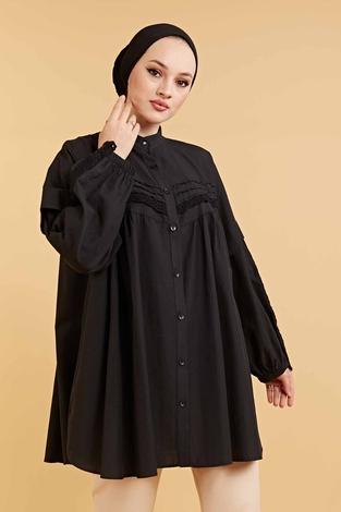 Dantel Detaylı Poplin Gömlek 160SAG6282 Siyah - Thumbnail