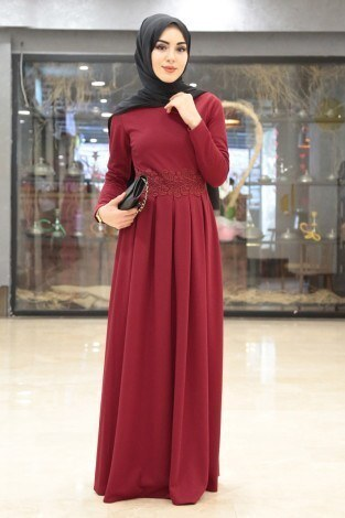 03f8baf6ef2fe w - Dantel Güpür Detaylı Elbise 4092-10
