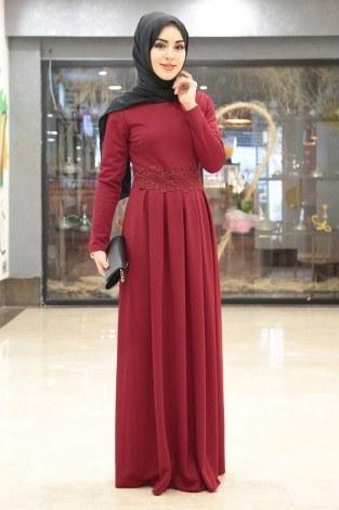 - Dantel Güpür Detaylı Elbise 4092-10 (1)