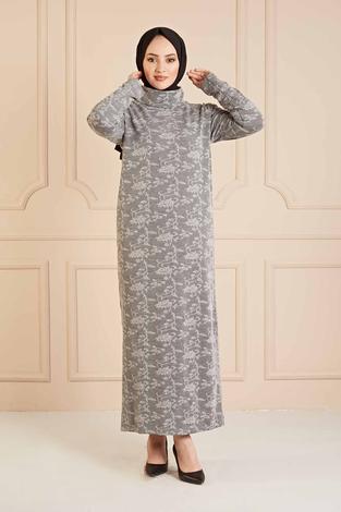 NY - Dantel Görünümlü Balıkçıyaka Elbise 120NY1570 Gri (1)