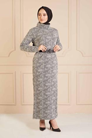 NY - Dantel Görünümlü Balıkçıyaka Elbise 120NY1570 Gri