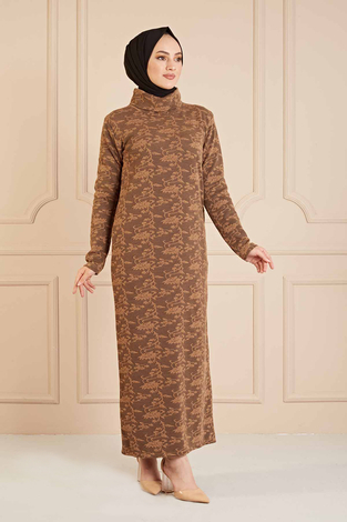 NY - Dantel Görünümlü Balıkçıyaka Elbise 120NY1570 Kahve (1)