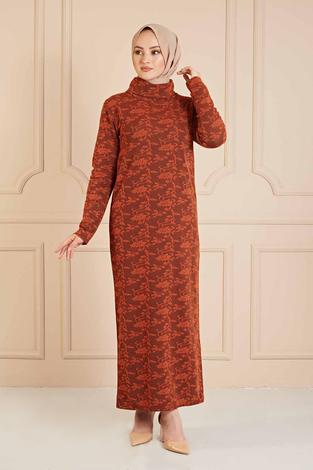 NY - Dantel Görünümlü Balıkçıyaka Elbise 120NY1570 Kiremit (1)