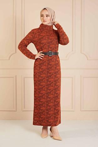 NY - Dantel Görünümlü Balıkçıyaka Elbise 120NY1570 Kiremit