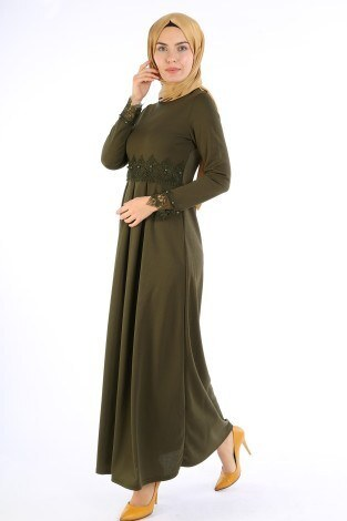 Dantel İnci Detaylı Elbise 01659-02 - Thumbnail