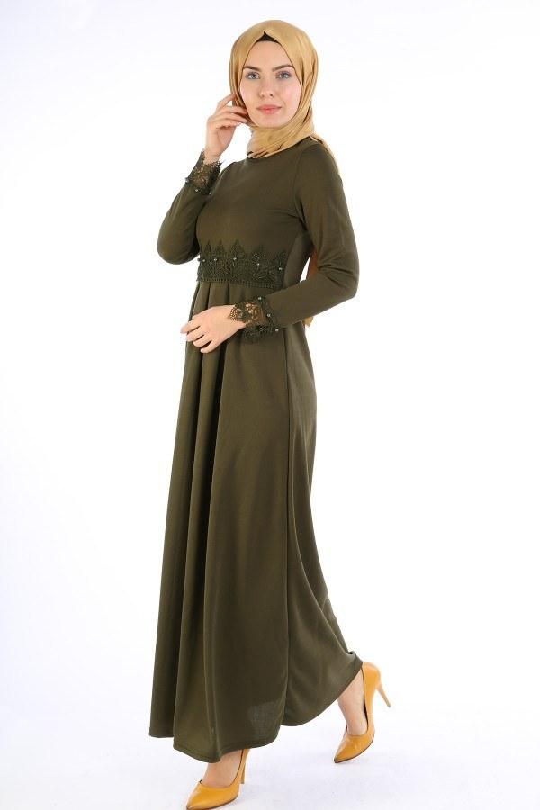 Dantel İnci Detaylı Elbise 01659-02