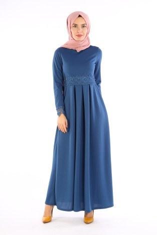 - Dantel İnci Detaylı Elbise 01659-03