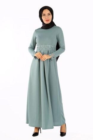 - Dantel İnci Detaylı Elbise 01659-04