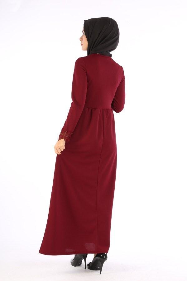 Dantel İnci Detaylı Elbise 01659-05