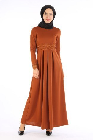 Dantel İnci Detaylı Elbise 01659-06 - Thumbnail