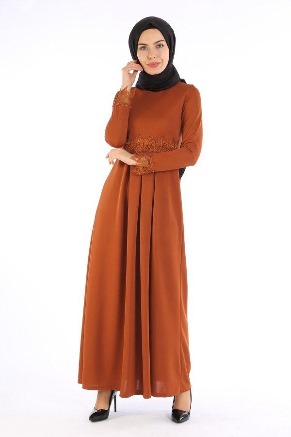 Dantel İnci Detaylı Elbise 01659-06
