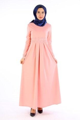 - Dantel İnci Detaylı Elbise 01659-07