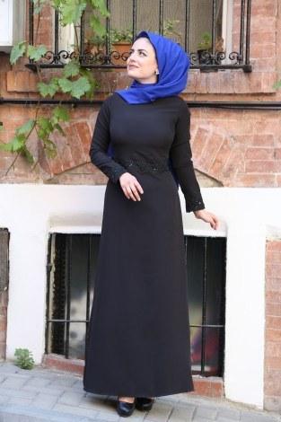Dantel-Pul Detaylı Abiye Elbise 15046-3 siyah - Thumbnail