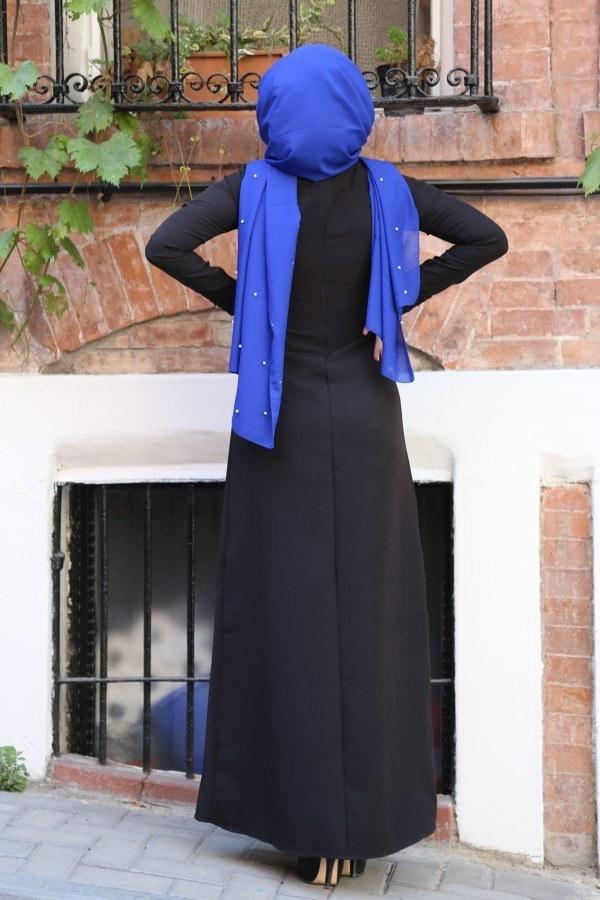 Dantel-Pul Detaylı Abiye Elbise 15046-3 siyah