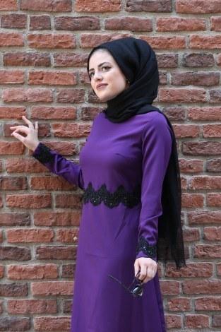 Dantel-Pul Detaylı Abiye Elbise 15046-7 - Thumbnail