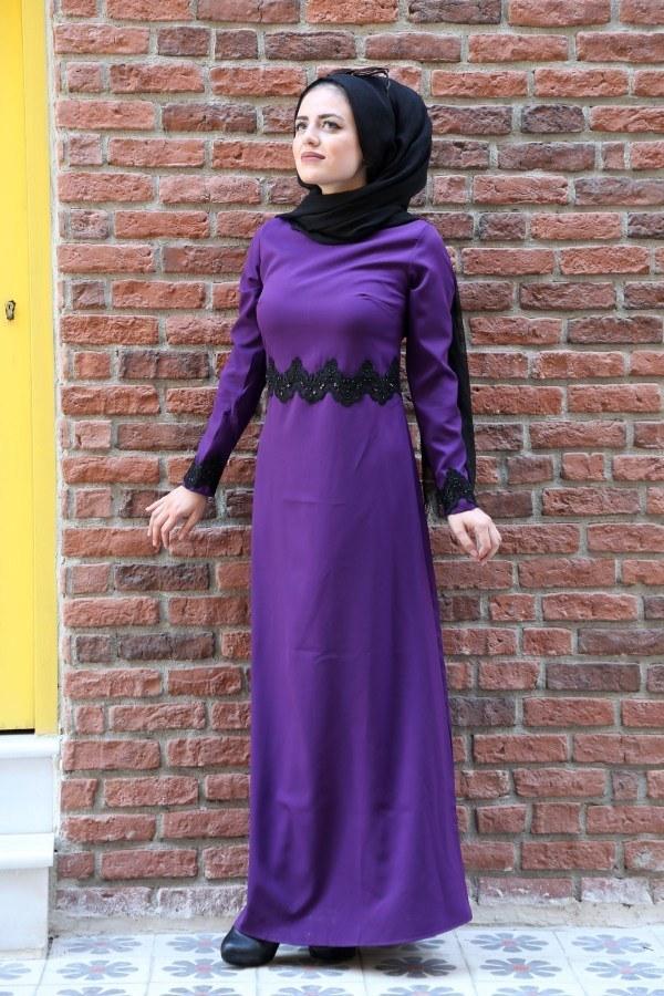 Dantel-Pul Detaylı Abiye Elbise 15046-7