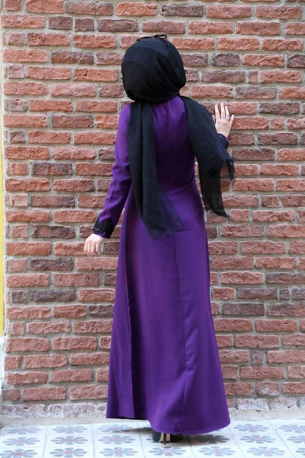 Dantel-Pul Detaylı Abiye Elbise 15046-7 Mor