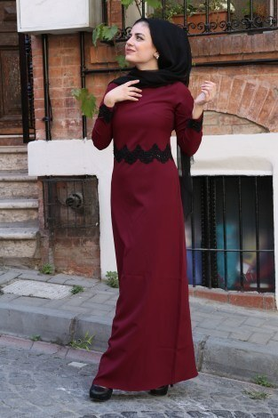 Dantel-Pul Detaylı Abiye Elbise 15046-8 - Thumbnail