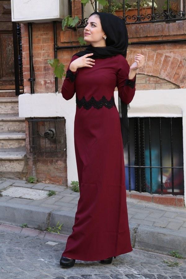 Dantel-Pul Detaylı Abiye Elbise 15046-8