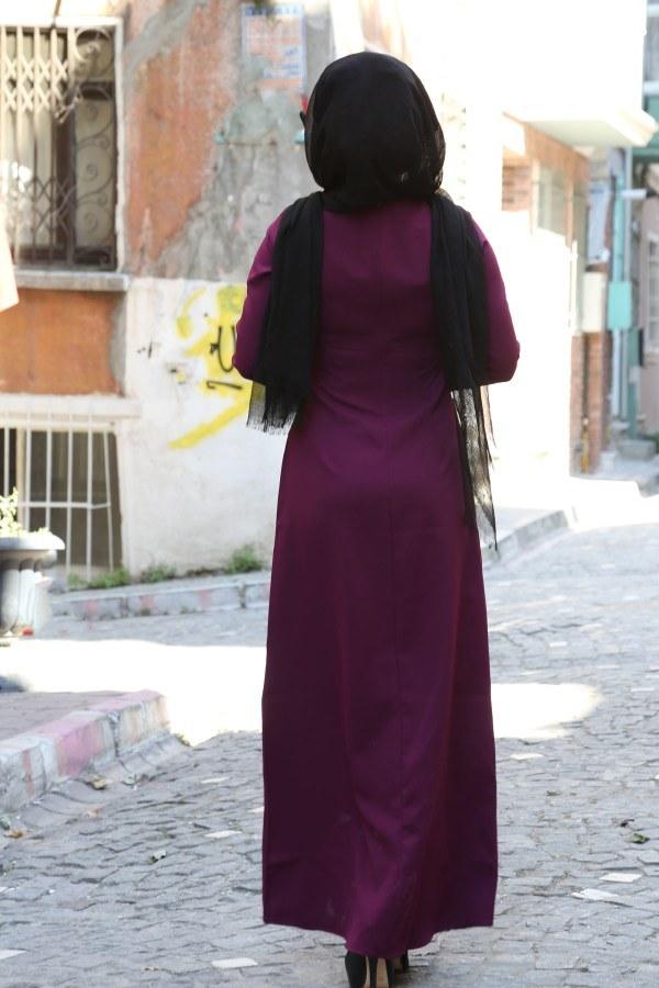 Dantel-Pul Detaylı Abiye Elbise 15046-9