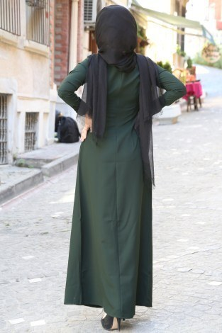 Dantel-Pul Detaylı Abiye Elbise 15046-11 Zümrüt Yeşili - Thumbnail