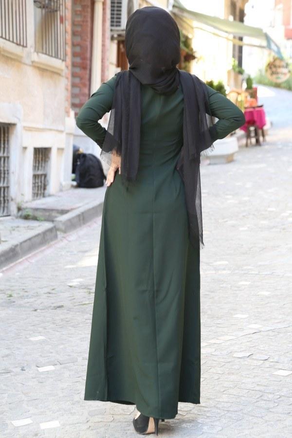 Dantel-Pul Detaylı Abiye Elbise 15046-11 Zümrüt Yeşili