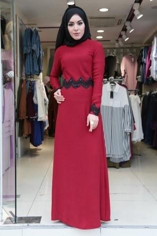 - Dantel-Pul Detaylı Abiye Elbise 15046-5 Kırmızı