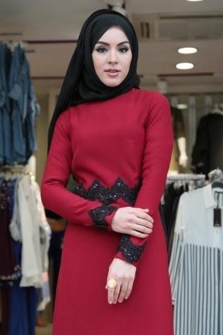 - Dantel-Pul Detaylı Abiye Elbise 15046-5 Kırmızı (1)