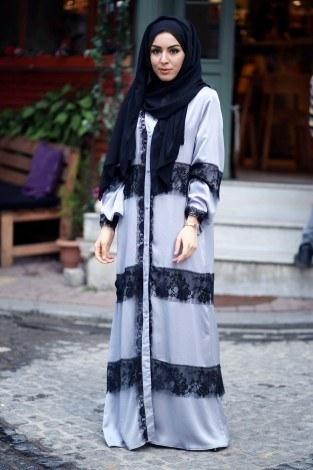 - Elif Nur Dantelli Abaya Ferace 8995-02