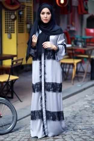 Elif Nur Dantelli Abaya Ferace 8995-02 - Thumbnail